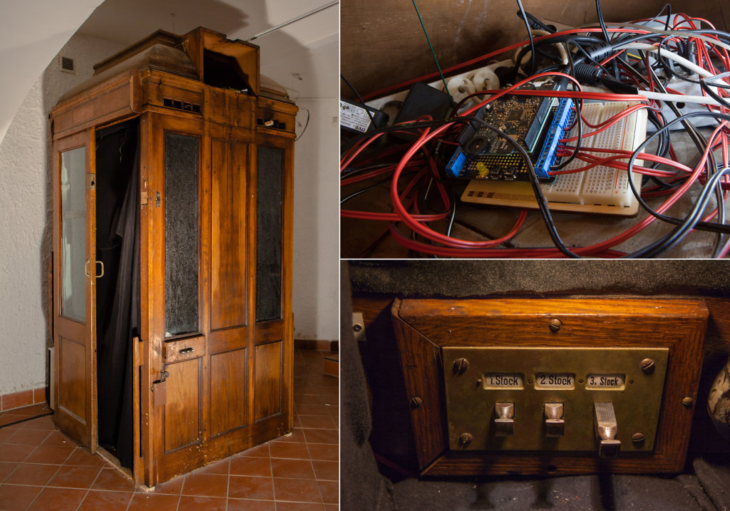 The photo booth from the outside, arduino microcontroller, switches